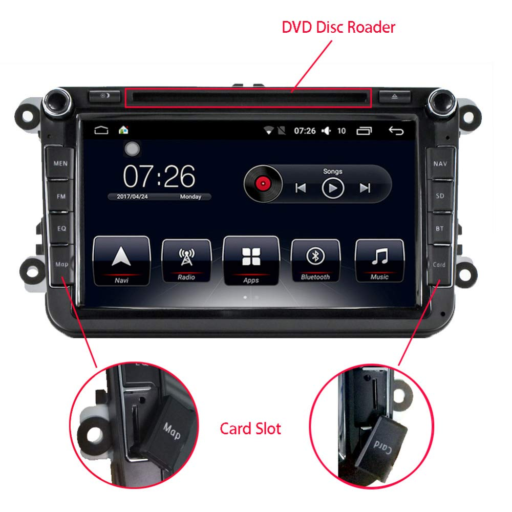 in Dash Car Stereo Radio DVD Player D-Noble VW 8'' Car 1G/16G Android 6.0 Bluetooth 2 Din Quadcore GPS Navigation Car Multimedia Player WiFi Mirror Link for VW Polo EOS Passat Golf Skoda (810) by AUDIOSOURCRS SHENZHEN LIMITED