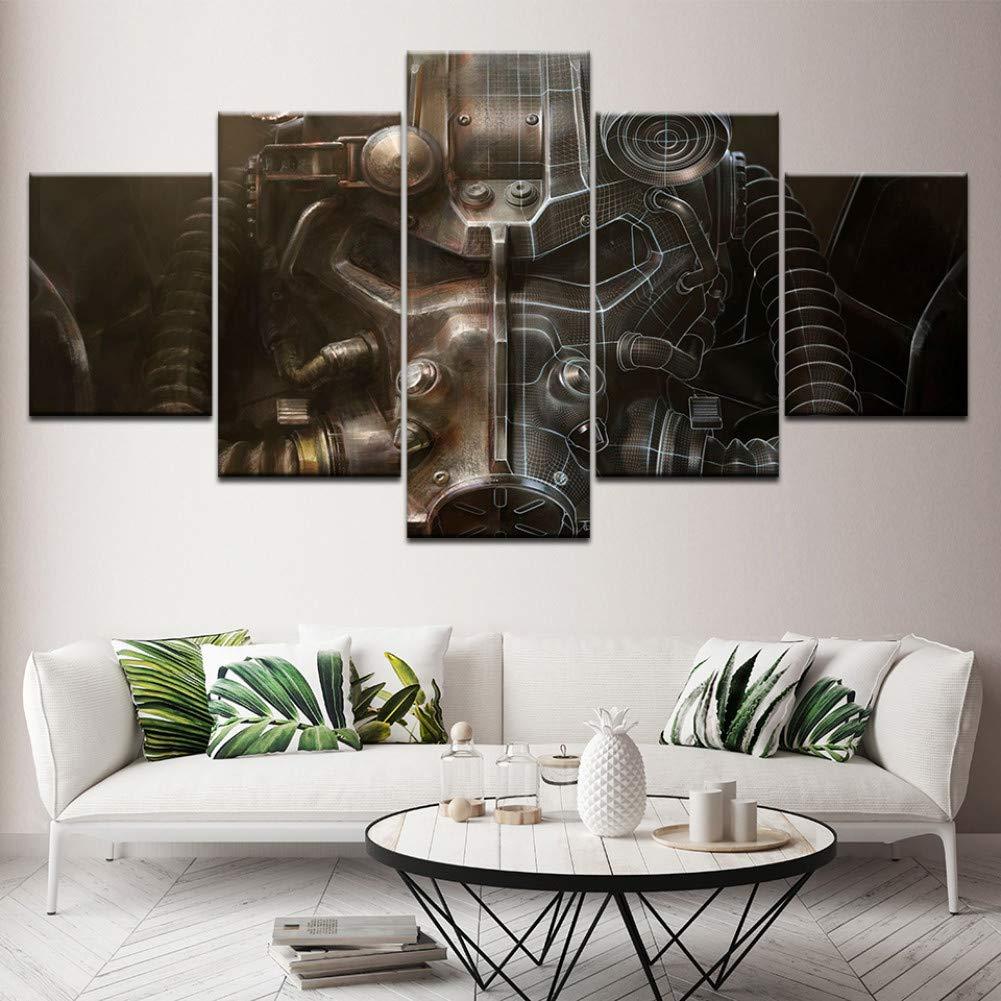 ACYKM 5 Pinturas Decorativas The Power Armor Fallout Wall Art Canvas Print Modern Poster Modular Art Painting for Living Room Home Decor