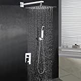BOHARERS Bathroom 10' Rainfall Shower Head with Handheld - Wall Mount Stainless Steel Multi-Function Rain Mixer Shower Combo, Polished Chrome