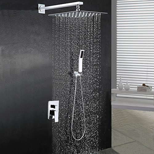 "Polished Chrome Combo - BOHARERS Bathroom 10"" Rainfall Shower Head with Handheld - Wall Mount Stainless Steel Multi-Function Rain Mixer Shower Combo, Polished Chrome"