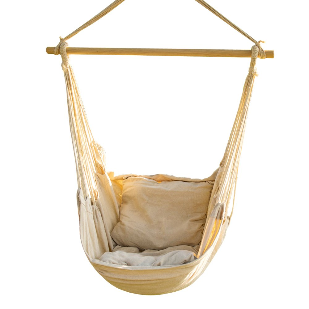 CCTRO Hanging Rope Hammock Chair Swing Seat, Large Brazilian Hammock Net Chair Porch Chair for Yard, Bedroom, Patio, Porch, Indoor, Outdoor - 2 Seat Cushions Included
