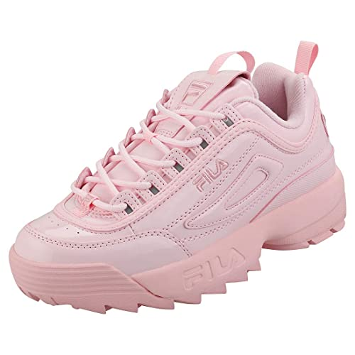 Fila Disruptor 2 Premium Patent Womens Fashion Trainers in Pink - 8 UK