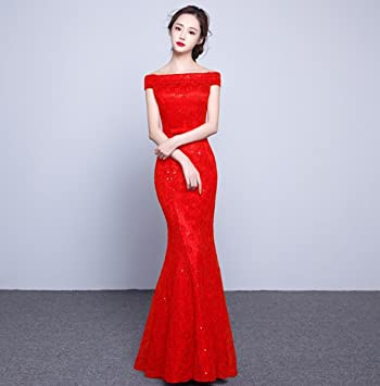 19fd800e771 Heart M Formal Evening Dress Long-style Fish tail Off-shoulder Sleeveless  Sequins Bridal gown