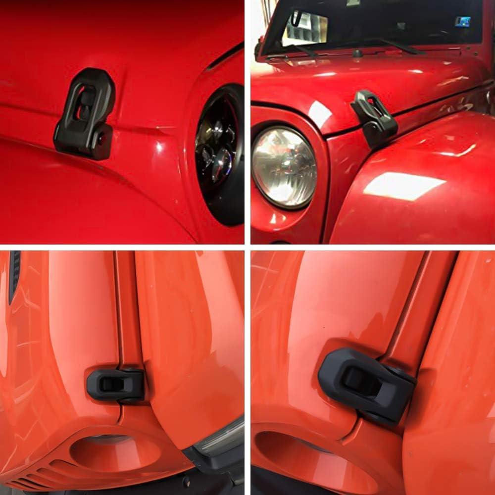 Anti-Thief Security Hood Lock kit for Jeep Wrangler 2007-2017 Rubicon Sahara Sport JK JKU a Pair Locking Hood Look Catch Latches Kit