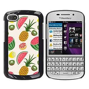 FECELL CITY // Duro Aluminio Pegatina PC Caso decorativo Funda Carcasa de Protección para BlackBerry Q10 // Pineapple Fruit Painted Drawing