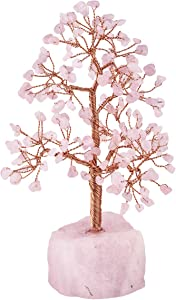 mookaitedecor Healing Gemstone Rose Quartz Crystal Tree, Natural Rough Stone Base Money Tree for Wealth and Luck 7-8.7 Inch