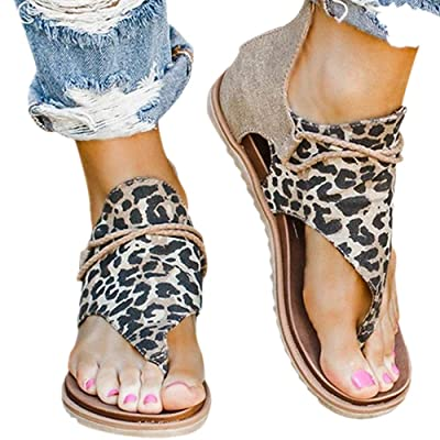 Sandal for Womens Posh Gladiator Sandals Summer Casual Sandals Premium Elegant Flat Heel Back Zipper Flats Shoes: Clothing