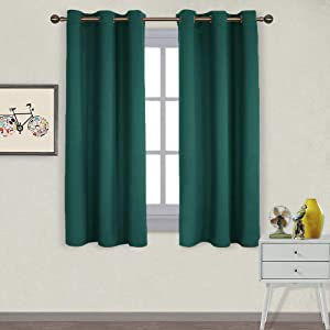 NICETOWN Thermal Insulated Solid Grommet Blackout Curtains/Drapes/Panels for Dining Room (Hunter Green, 1 Pair, 42 by 63-Inch)