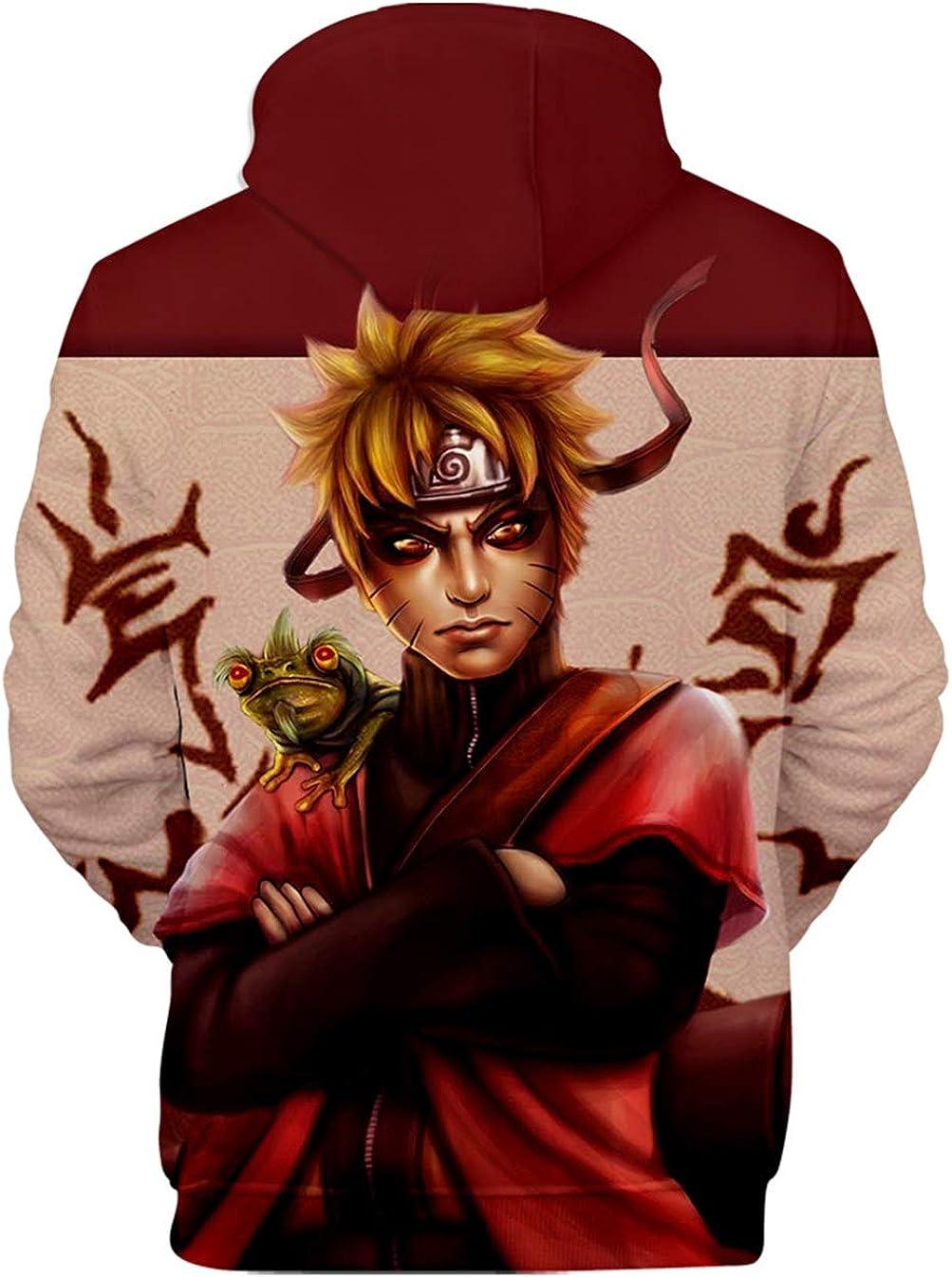 HUASON Naruto Uomo Donna Felpa con Cappuccio Stampa di Vortice Uchiha Hoodie Uzumaki Abbigliamento Sportivo Casual con Tasche