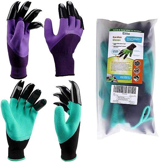 Guantes de jardín Eiito (8 garras 2 pares), verde con lila, guantes de jardín para plantas y jardinería: Amazon.es: Jardín