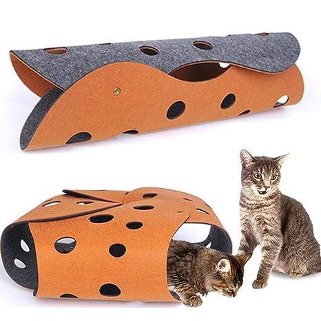 Auoker - Juego de 2 túneles interactivos de Fieltro para Gatos ...