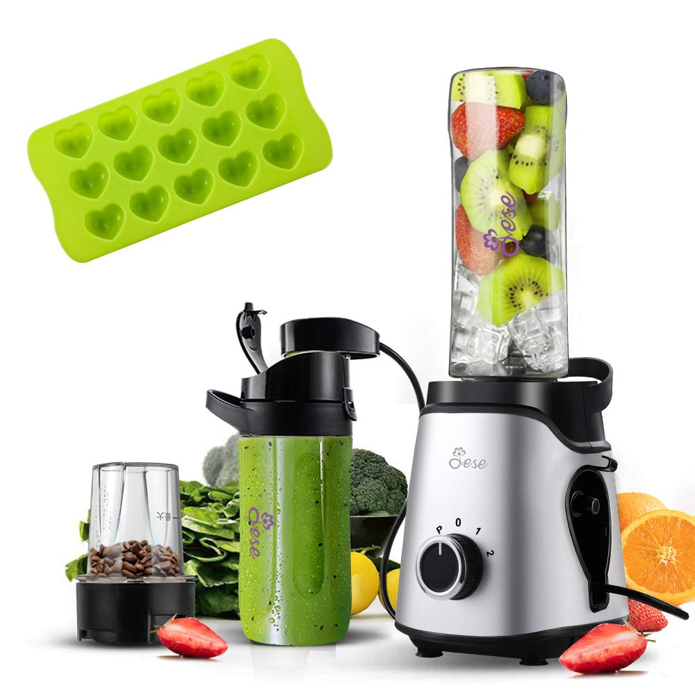 Small Blender, Personal Smoothie Blender with Unique Vacuum Function, 2-in-1 Single Serve Blender and Grinder 300W 24000RPM with 20 Oz & 14 Oz Tritan Sports Bottles for Smoothies, Shakes and Juices