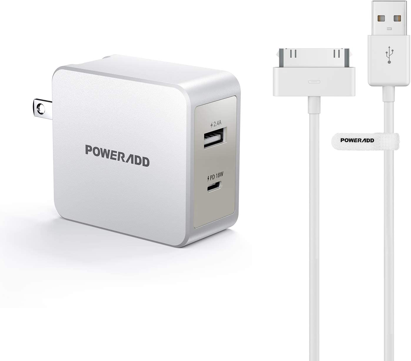 USB C Wall Charger POWERADD 30W Dual Port Type C Charger with 18W Power Delivery and Foldable Plug Apple Certified iPhone 4 4s 3G 3GS iPad 1 2 3 iPod Touch Nano 30 Pin Charger USB Sync Cable Charging
