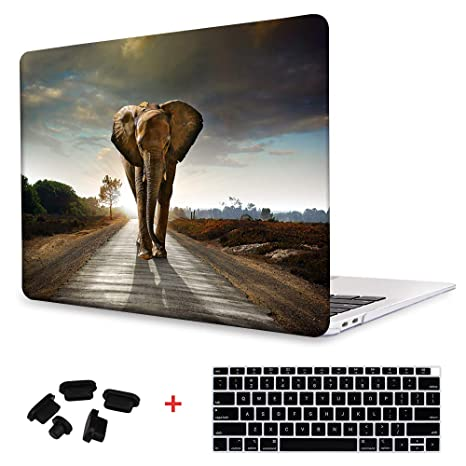 Print Animal Pattern Rubberized Hard Cover Clear Laptop case + Keyboard  skin + Dust plug For Macbook Air 13 (Models:A1369/A1466) - Elephant