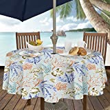 Casual Living by Newbridge Coastal Settings Indoor Outdoor Polyester Table Linens, 70-Inch Round with Umbrella Hole and Zipper Tablecloth
