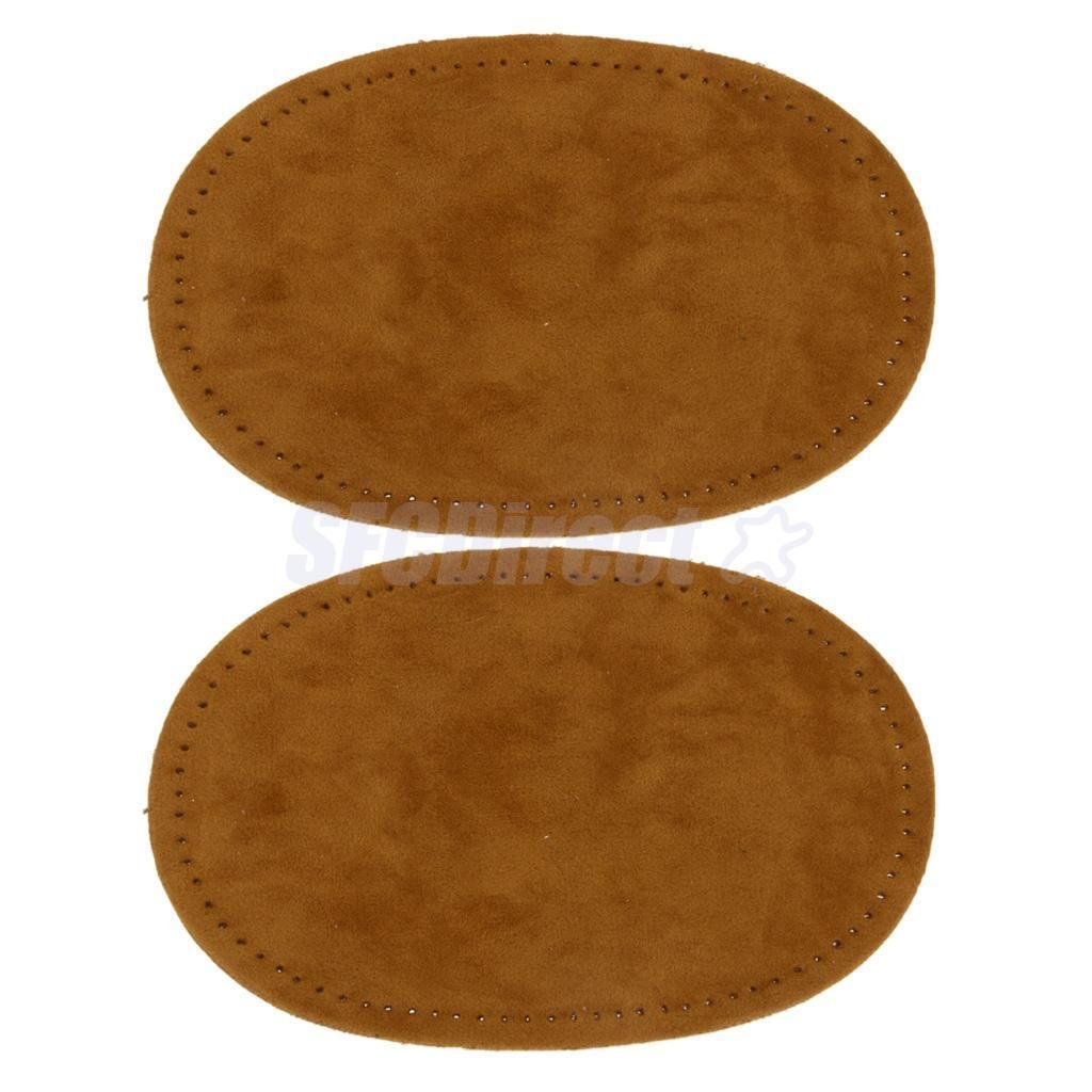 Pair Sew-On Fabric Oval Elbow Knee Patches Sweater Trousers Repair Craft Supply Brown