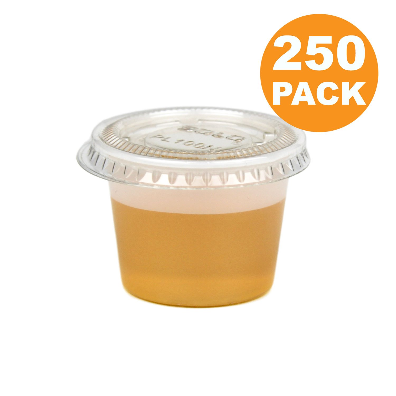 1 OZ Plastic Portion Cup with Clear Lids Disposable Jello Shots Sauce Condiment Souffle Dressing Mini Containers [250 Pack]