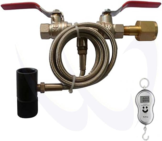 """Deluxe Paintball Dual Valve Lever 36/"""" Hose CO2 Fill Station Refill Tank"""