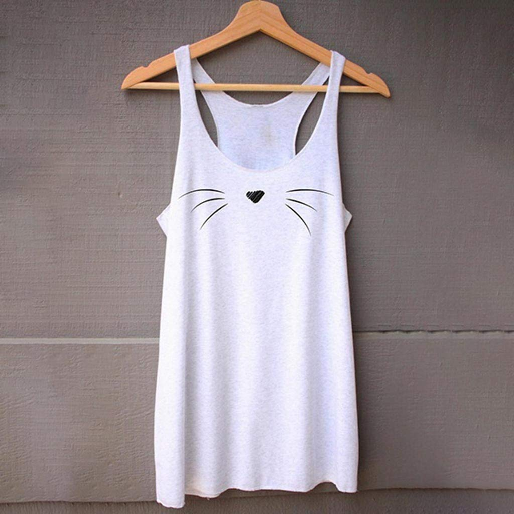 Women Fitness Tops Sleeveless Cat Face Shirt Casual Loose Tank Top Soft Comfortable