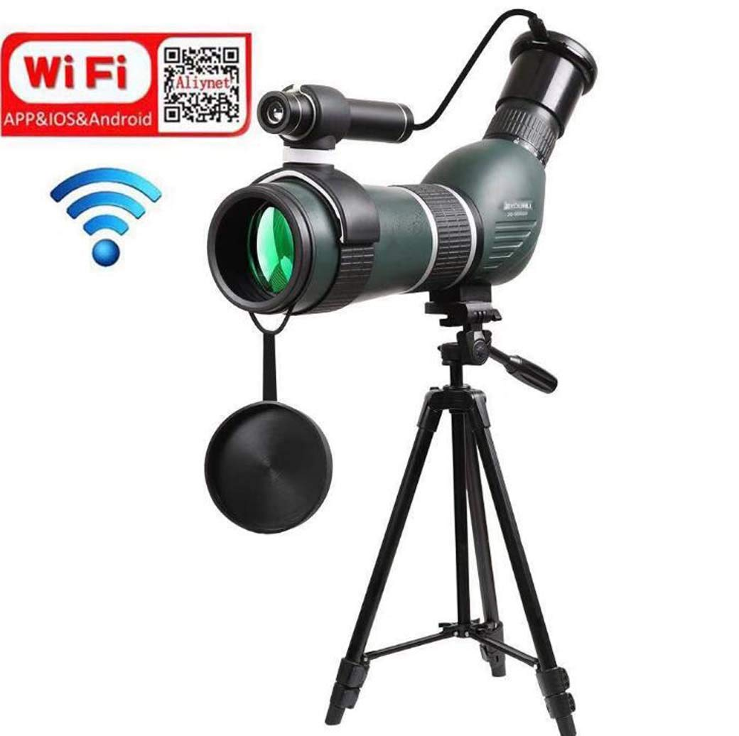 ZTYD 20-60X60mm Spotting Scope Monocular with WiFi Wireless Connect with Smartphone APP,Infrared Night Vision Telescope with Big Tripod&Phone Adapter for Outdoor Trip by ZTYD