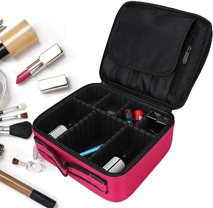 Bolso profesional de maquillaje de tela Osford,pinceles de maquillaje Estuche organizador de almacenamiento para el cuidado de la piel con divisores ajustables Caja de cosméticos liviana de viaje Imp: Amazon.es: Belleza
