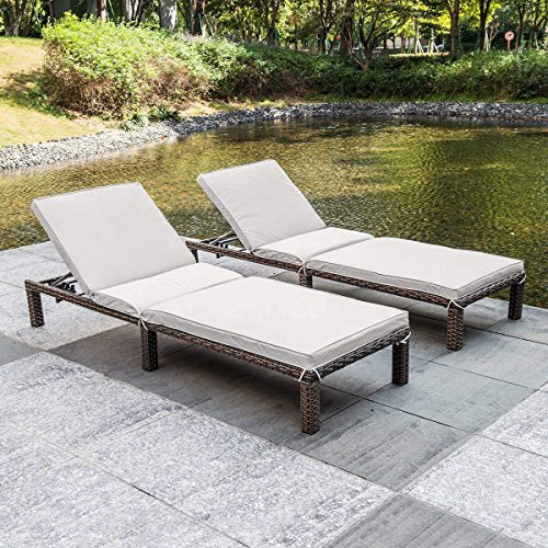 MAGIC UNION Patio Adjustable Wicker Chaise Lounge with Cushions Sets of 2 by MAGIC UNION (Image #6)