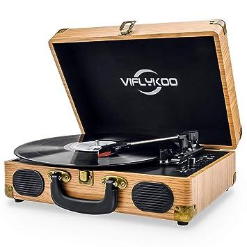 Viflykoo Tocadiscos de Vinilo, Tocadiscos Vintage Disco Vinilo LP 3 velocidades Reproductor de Discos Incorporado 2 Parlantes,Toma de Auriculares, ...