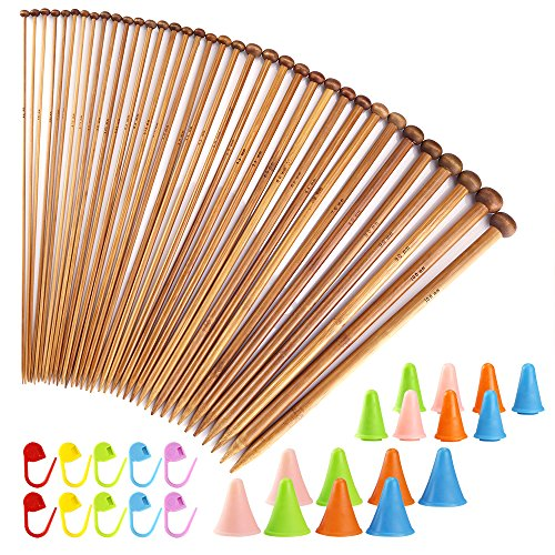 Point Knitting Needle Set (Biging 62 Pieces Knitting Needles Set with Bamboo Knitting Needles (18 Sizes from 2mm to 10mm) and Knitting Needle Point Protectors and Knitting Crotchet Locking Stitch Markers)