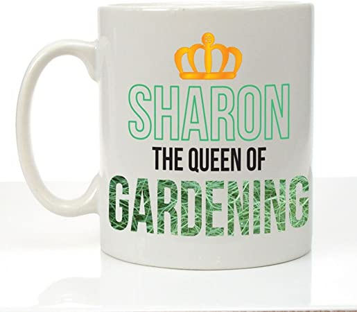 Personalised The Queen Of Gardening Mug Garden Gifts For Her Gardener Presents Amazon Co Uk Kitchen Home