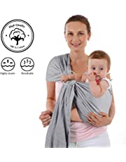 4 in 1 Baby Wrap Carrier and Ring Sling - Charcoal Gray Cotton - Use as a Postpartum Belt and Nursing Cover with Free Carrying Pouch - Best Baby Shower Gift for Boys or Girls (#1 Gray)