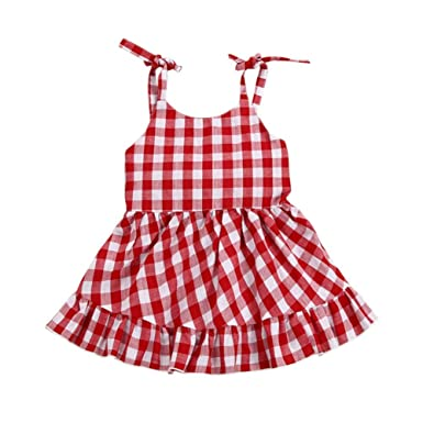 fc8f9f20e84 Weixinbuy Toddler Baby Girl s Red   White Plaid Summer Strap Party Dress  Clothes