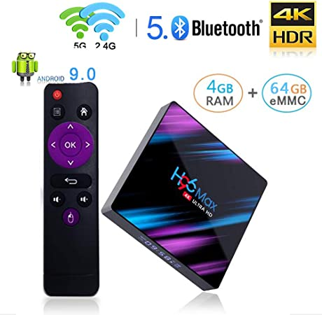 WFGZQ Android 9.0 TV Box,4GB RAM 64GB ROM RK331864 CPU De Cuatro Núcleos, 2.4G WiFi Ethernet Bluetooth 4.0 Compatible con 3D 4KHD Smart TV Box: Amazon.es: Hogar