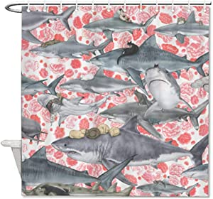 "DONL9BAUER Cat Shark Shower Curtain Retro Movie Waterproof Bath Curtain Durable Curtain Decor with Slip Ring Hook for Bathroom Kitchen Decoration 60""x72"""