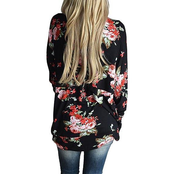 wlgreatsp Mujer Estampado Floral Cardigan Casual Tops de Gasa Blusa Sudadera Abrigo de Moda S
