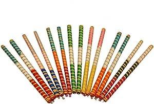 CRAFTSMAN 20 pc ( 10 Pair) Dandiya/Dandia Sticks Large 15 Inch - Beautiful Wooden Stick Multi Color Dandiya Sticks for Couple, Special Navaratri Ocassion