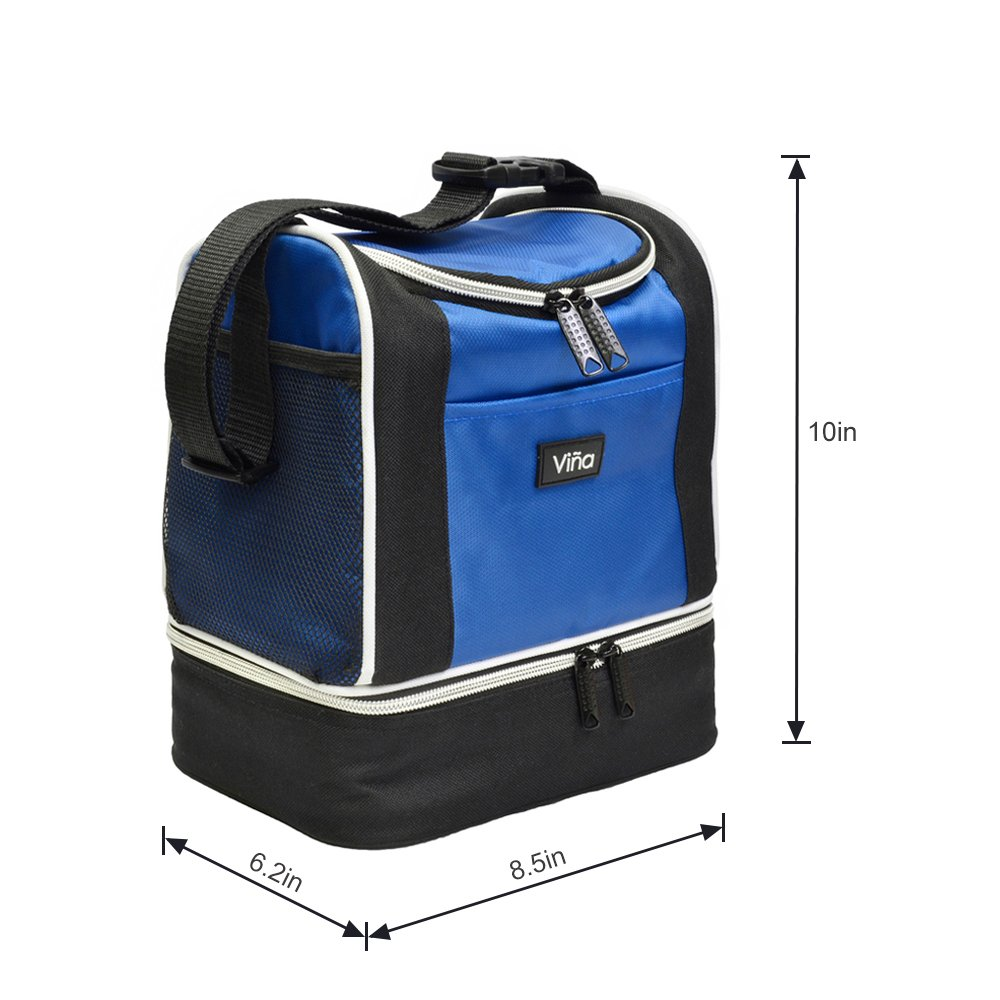 Vina Insulated Lunch Bag, Dual Compartment Reusable Bento Lunch Box Cooler Tote with Shoulder Strap for Adult and Kids, Blue