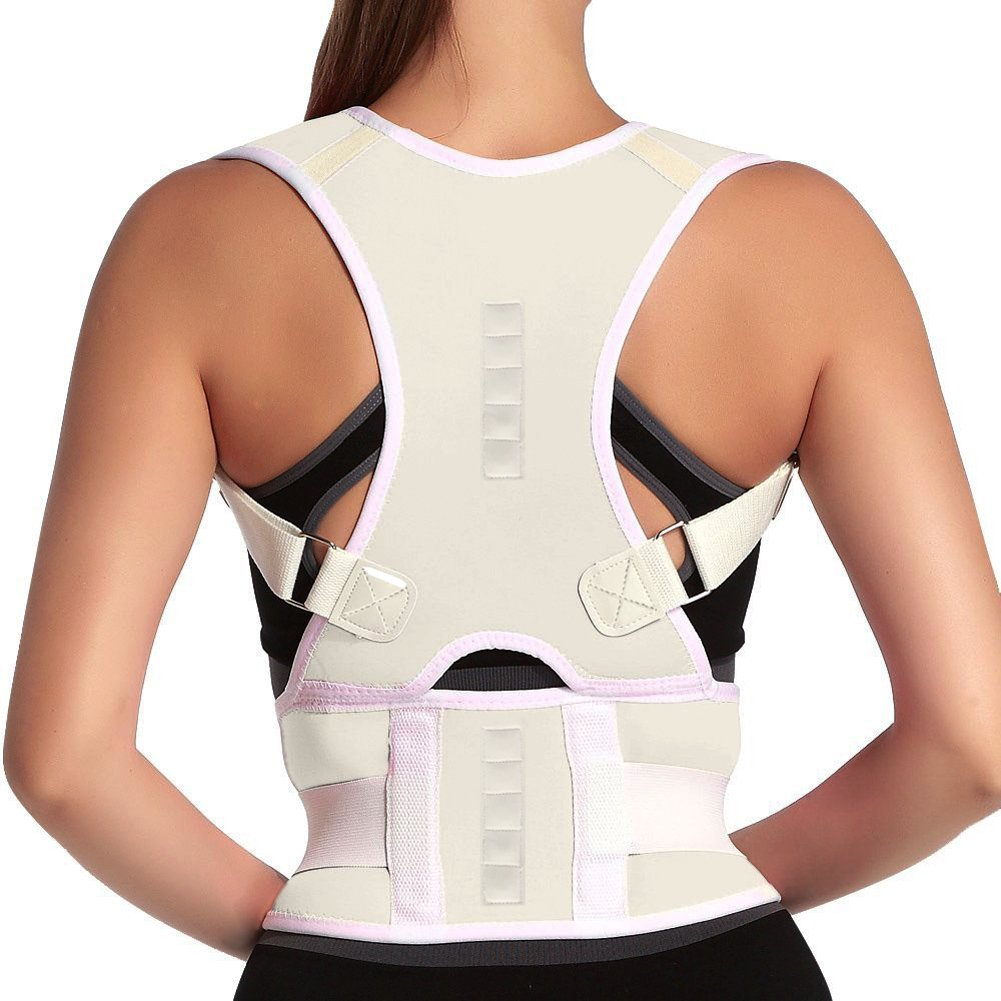 Thoracic Back Brace Posture Corrector- Magnetic Lumbar Back Support Belt-Back Pain Relief, Improve Thoracic Kyphosis, for Lower and Upper Back Pain Men & Women (White, Large) by MOHUACHI