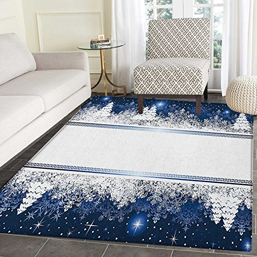 Christmas Anti-Skid Area Rug Frosty Winter Theme Border Abstract Vibrant Trees and Stars Yuletide Artwork Door Mat Increase 3'x4' Dark Blue White