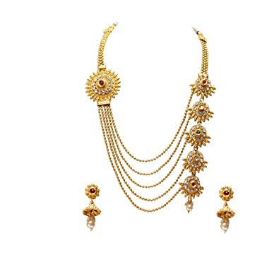 ce63637bcac Buy Swarajshop Copper Gold-Plating Necklace Set for Women's Online at Low  Prices in India | Amazon Jewellery Store - Amazon.in