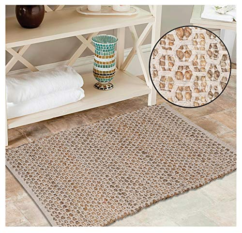 Jute Cotton Rug 2x3 Feet 24x36 inches Hand Woven by Skilled Artisans Farmhouse Style for Any Room of Your Home décor  Honeycomb Weave Construction  Natural Jute Cotton Rug