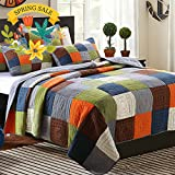 ON SALE Cotton Patchwork Quilt Bedspread Set Queen Plaid Print Quilt Coverlet Set Luxury Reversible Quilt Set for Kids Adults Super Soft Queen Quilt Set for Boys Girls with 2 Pillow Shams, Style4