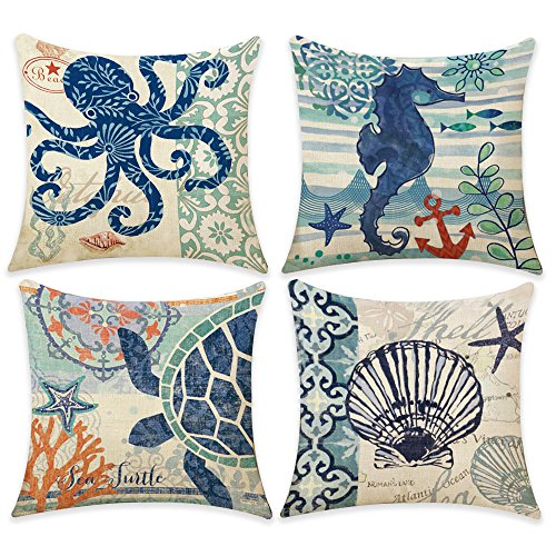 Hotipine Throw Pillow Covers Set of 4 Decorative Pillow Case Cushion Cotton Linen for Sofa Couch Home Car Decorative 18 x 18 inch - ()