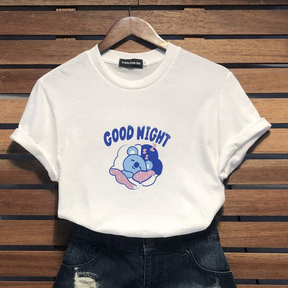 Fushimuma Womens BTS Cartoon Tee Koya RJ Shooky Mang Chimmy Tata Cooky Van T-Shirt