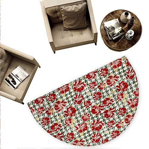 - Floral Half Round Door mats Vintage Classic with Scottish Houndstooth Vivid Rose Florets Feminine Pattern Bathroom Mat H 59