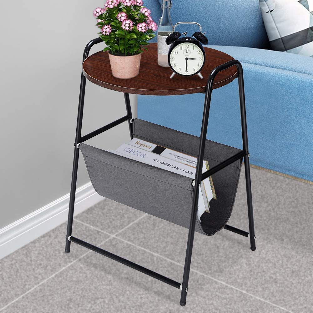 Greensen Round Bed Side Table with Fabric Storage, Rustic Accent End Table Metal Frame Nightstand for Living Room Bedroom Office Furniture, Black and Brown