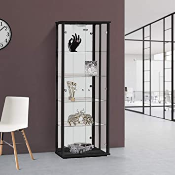 Silver, Oak /& Black available Displaysense Black Glass Display Cabinet with Lighting 670mm