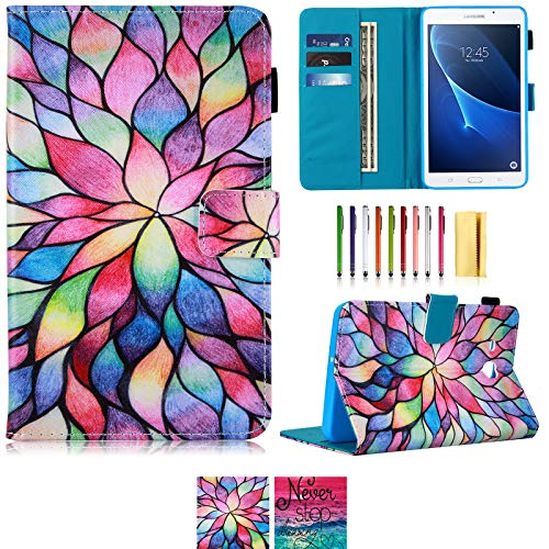 Tab A 7.0 Case,UUcovers Lightweight Stand Cover Wallet Case with Card/Cash Slots for Samsung Galaxy Tab A 7.0 Inch Tablet 2016 Release/SM-T280/SM-T285 (Lotus)