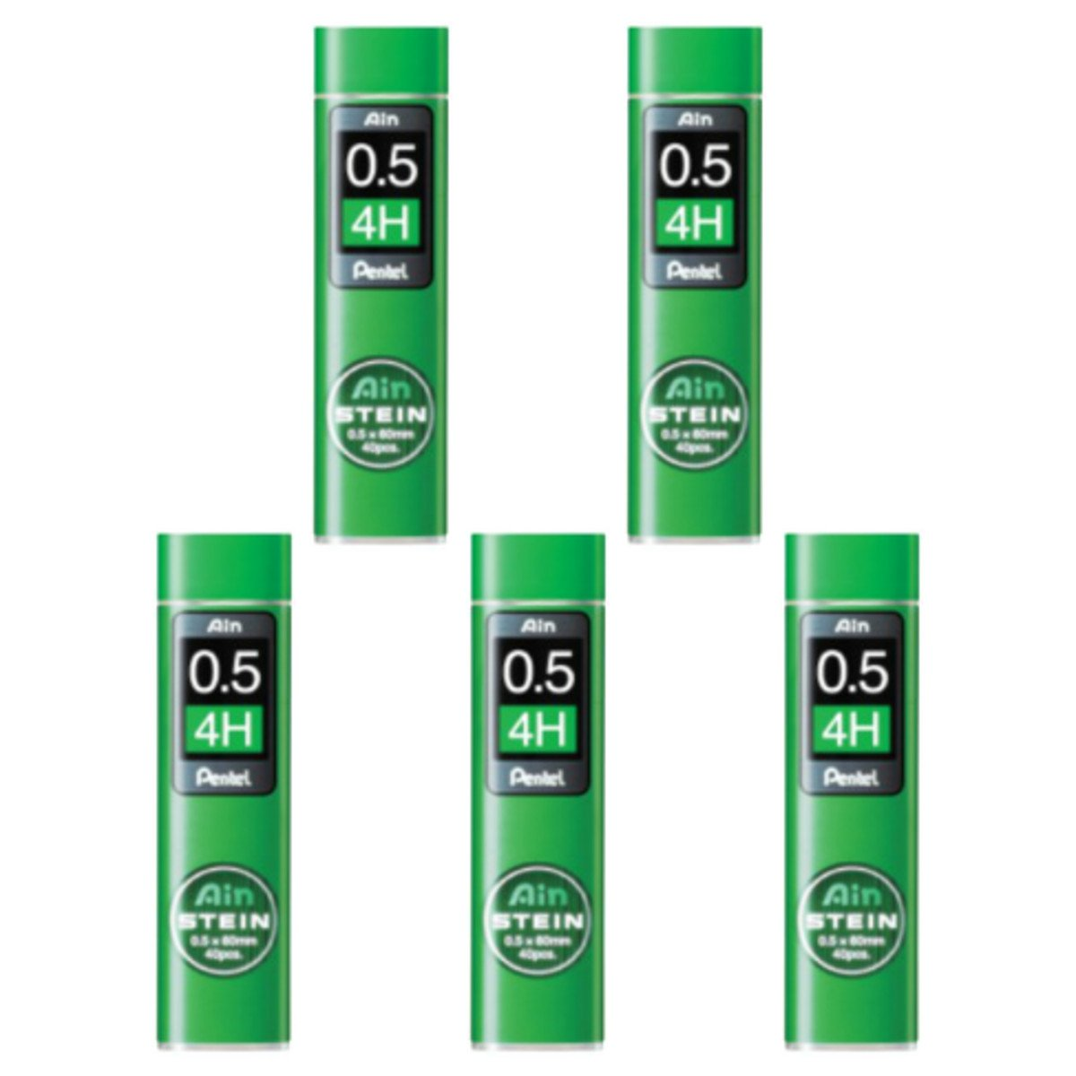 Pentel Ain Mechanical Pencil Leads 0.5mm 4H, 5 Pack/total 200 Leads Value Set