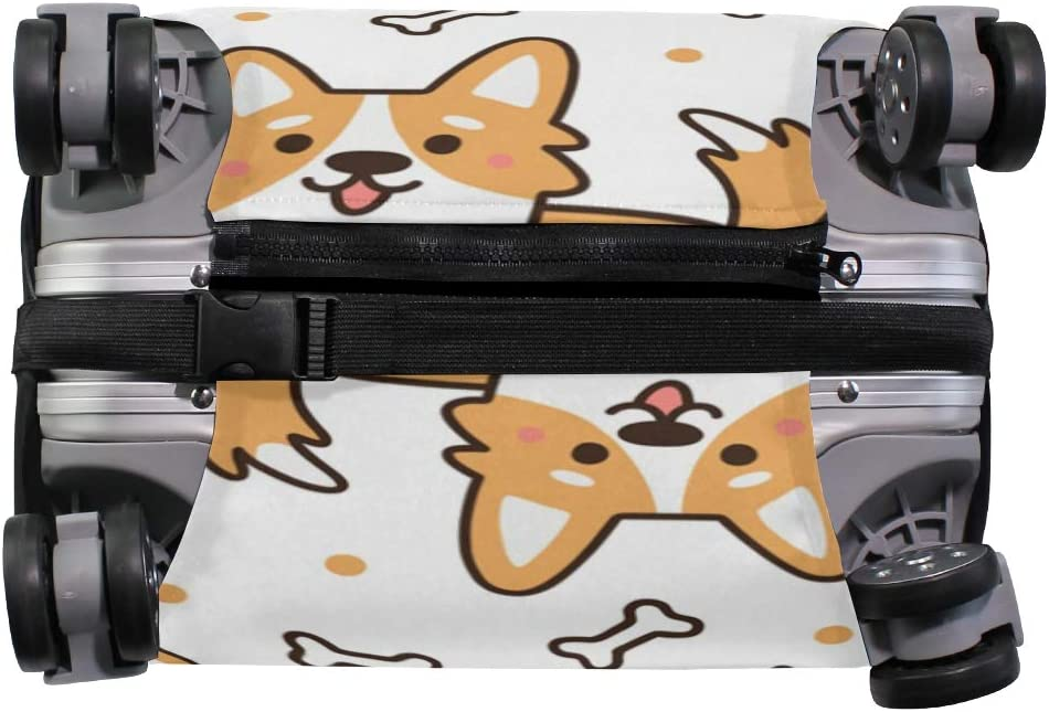Travel Luggage Cover Lovely Corgi Dogs Bone Pattern Suitcase Protector