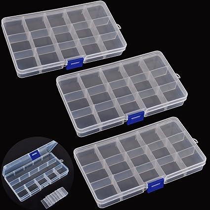 Amazoncom ABBY 3pcs 15 Clear Adjustable Jewelry Bead Organizer